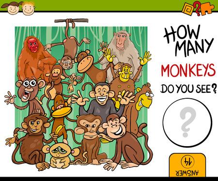 Cartoon Illustration of Education Counting Game for Preschool Children Çizim