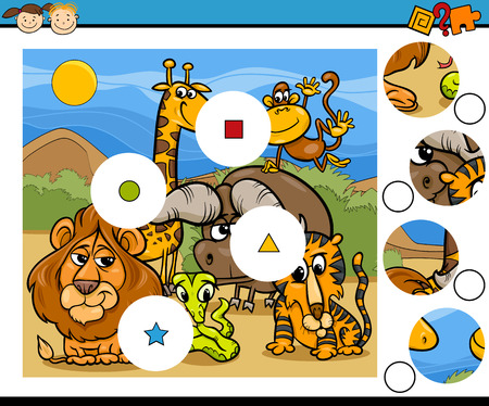iq: Cartoon Illustration of Match the Pieces Education Game for Preschool Children