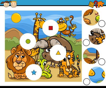 niño preescolar: Ejemplo de la historieta de Partido Juego Educación Piezas para niños en edad preescolar Vectores