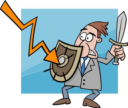 economic crisis: Concept Cartoon Illustration of Businessman fighting with Economic Crisis or Recession