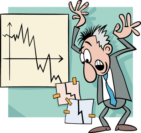 Concept Cartoon Illustration of Economic Crisis and Panic Businessman