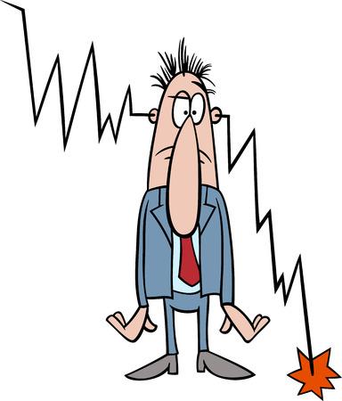 crisis economica: Concepto ilustración de la historieta del hombre de negocios y la crisis económica o recesión