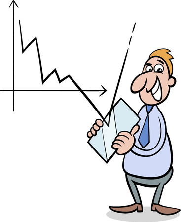 recession: Concept Cartoon Illustration of Businessman fighting with Economic Crisis or Recession
