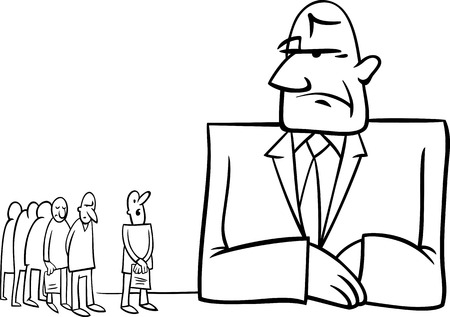 devaluation: Black and White Concept Cartoon Illustration of People in Bank Illustration