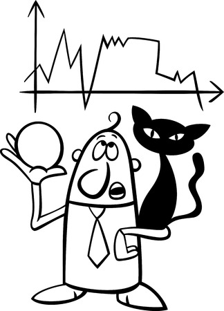 diviner: Black and White Concept Cartoon Illustration of Funny Diviner Businessman with Black Cat and Crystal Ball
