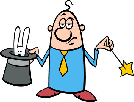 swindle: Concept Cartoon Illustration of Funny Illusionist Businessman with Hat and Magic Wand