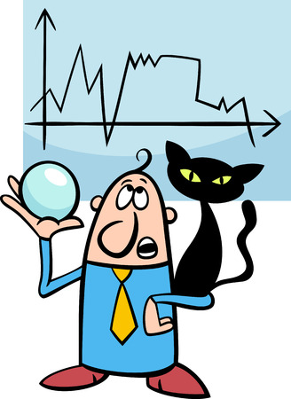 the art of divination: Concept Cartoon Illustration of Funny Diviner Businessman with Black Cat and Crystal Ball