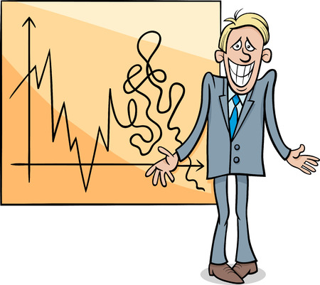 grin: Concept Cartoon Illustration of Economic Crisis Diagram and Businessman with Cheesy Grin