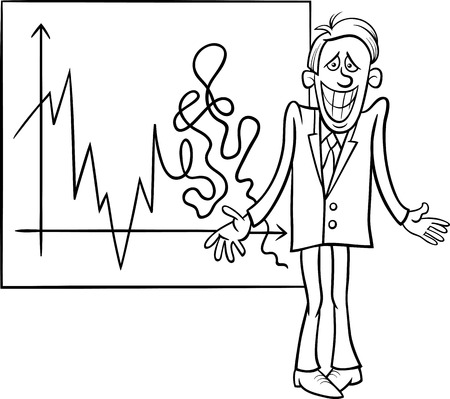 stock broker: Black and White Concept Cartoon Illustration of Economic Crisis Diagram and Businessman with Cheesy Grin