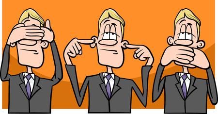 Cartoon Humor Concept Illustration of See no Evil Hear no Evil Speak no Evil Saying or Proverb Vector