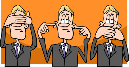see no evil: Cartoon Humor Concept Illustration of See no Evil Hear no Evil Speak no Evil Saying or Proverb