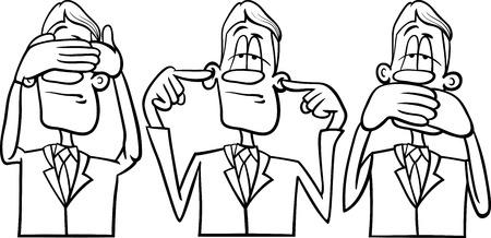 Black and White Cartoon Humor Concept Illustration of See no Evil Hear no Evil Speak no Evil Saying or Proverb