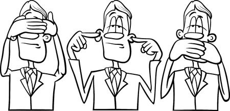 oir: Historieta blanco y negro Humor ilustraci�n del concepto de no ver ning�n mal no o�r ning�n mal no hablar mal Decir o Proverbio Vectores