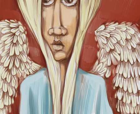 face painting: Digital Painting Illustration of Angel with Wings Stock Photo