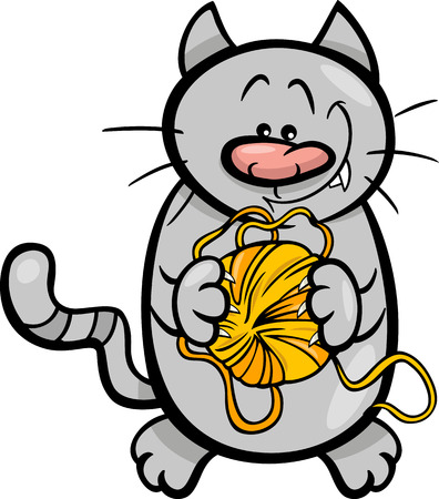 skein: Cartoon Illustration of Funny Cat with Ball of Wool