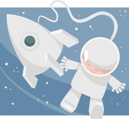 Cartoon Illustration of Little Boy Astronaut in Space Vector