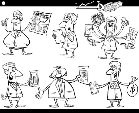 Black and White Cartoon Illustration Set of Funny Businessmen and Business Concepts Vector