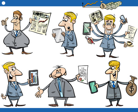 Cartoon Illustration Set of Funny Businessmen and Business Concepts Vector