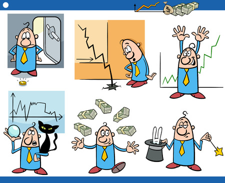 the art of divination: Cartoon Illustration Set of Funny Business Concepts and Metaphors Illustration