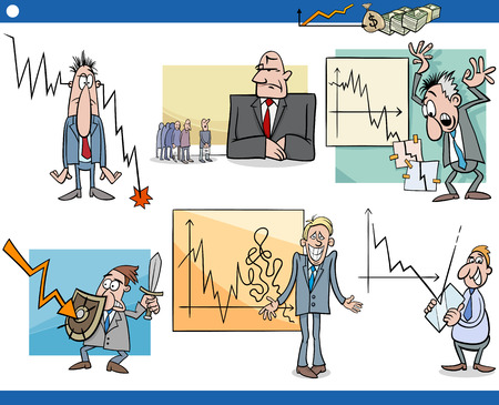 stock broker: Cartoon Illustration Set of Economic Depression Business Concepts and Metaphors Illustration