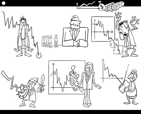 economic depression: Black and White Cartoon Illustration Set of Economic Depression Business Concepts and Metaphors