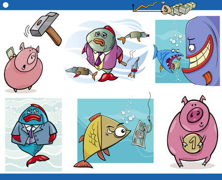 Cartoon Illustration Set of Business Concepts and Metaphors Vector