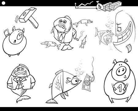 takeover: Black and White Cartoon Illustration Set of Business Concepts and Metaphors