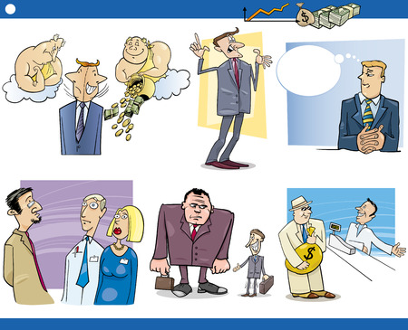 metaphors: Cartoon Illustration Set of Funny Businessmen and Business Concepts and Metaphors