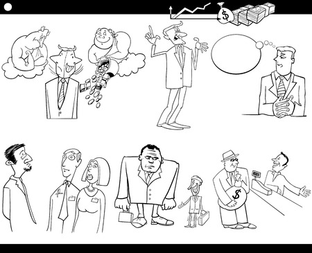 metaphors: Black and White Cartoon Illustration Set of Funny Businessmen and Business Concepts and Metaphors