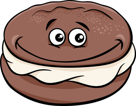 cream pie: Cartoon Illustration of Sweet Whoopie Chocolate Pie with Cream Clip Art