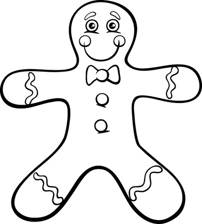 Black and White Cartoon Illustration of Gingerbread Man Cookie Clip Art for Coloring Book