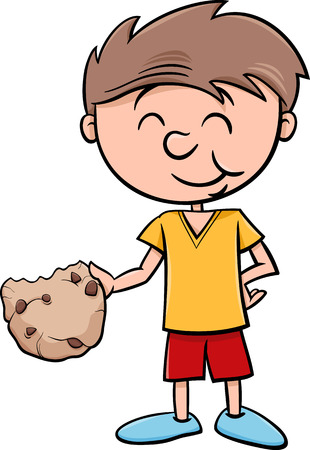 shortbread: Cartoon Illustration of Boy Eating Tasty Cookie
