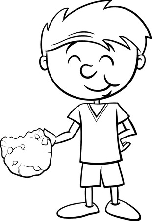 oatmeal cookie: Black and White Cartoon Illustration of Boy Eating Tasty Cookie for Coloring Book