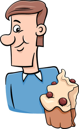 tasty: Cartoon Illustration of Man Eating Tasty Cupcake Illustration