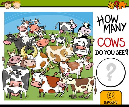 Cartoon Illustratie van Onderwijs Counting Game voor kleuters Stock Illustratie
