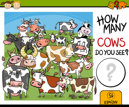 cow cartoon: Cartoon Illustration of Education Counting Game for Preschool Children Illustration