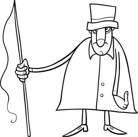 whip: Black and White Cartoon illustration of Coachman or Carter with Whip for Coloring Book