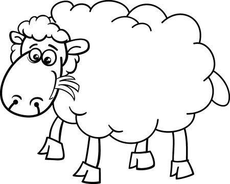 lamb cartoon: Black and White Cartoon Illustration of Funny Sheep Farm Animal for Coloring Book