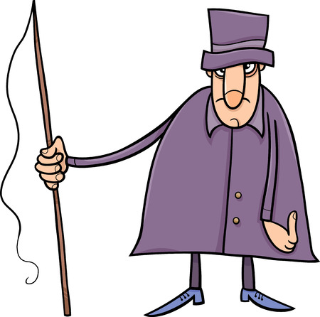 whip: Cartoon illustration of Coachman or Carter with Whip