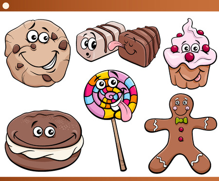 Cartoon Illustration of Funny Sweets and Cookies Set Vector