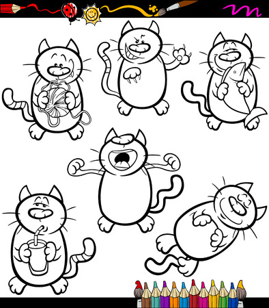 sneer: Coloring Book or Page Cartoon Illustration of Black and White Funny Cats Set Illustration