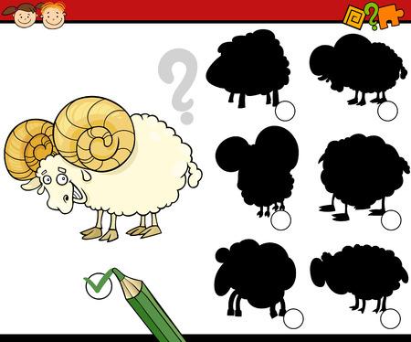 Cartoon Illustration of Education Shadow Matching Game for Preschool Children Vector