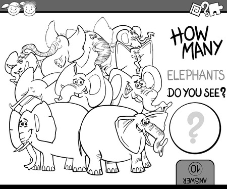 numbering: Cartoon Illustration of Education Counting Game for Coloring Book Illustration
