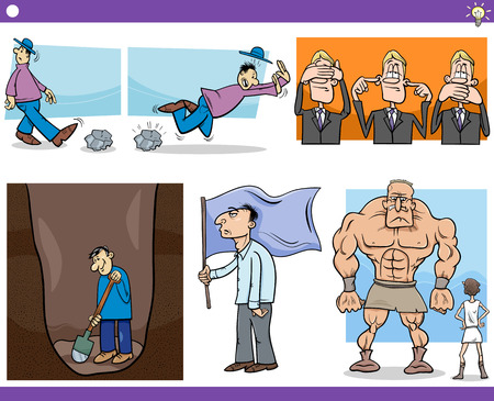 inattentive: Illustration Set of Humorous Cartoon Concepts or Ideas with Funny Characters