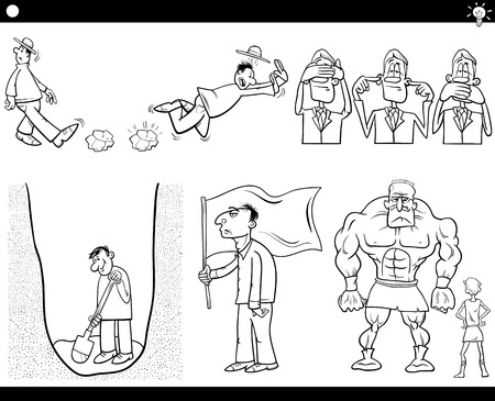 proverbs: Black and White Illustration Set of Humorous Cartoon Concepts or Ideas with Funny Characters Illustration
