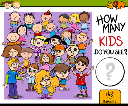 cartoon math: Cartoon Illustration of Education Counting Game for Preschool Children Illustration
