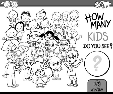 Cartoon Illustration of Education Counting Game for Coloring Book Illustration