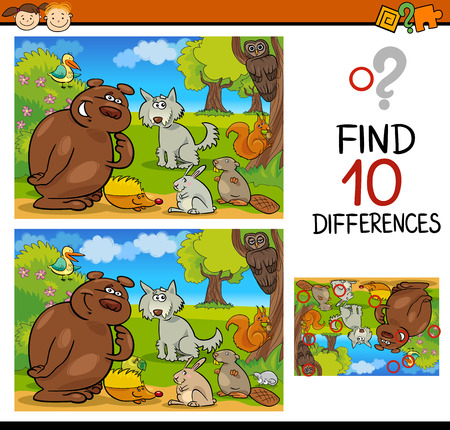 Cartoon Illustration of Finding Differences Educational Game for Preschool Children Stock fotó - 36626379