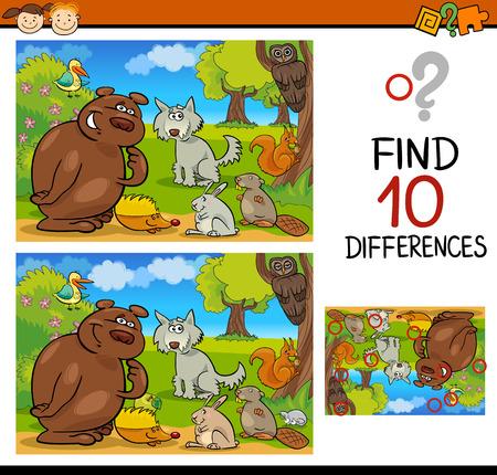 escuela caricatura: Ejemplo de la historieta de encontrar diferencias juego educativo para niños en edad preescolar