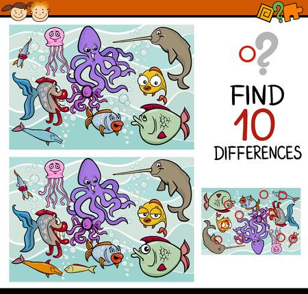 Ejemplo de la historieta de encontrar diferencias juego educativo para niños en edad preescolar Foto de archivo - 36626380